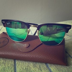 Ray-Ban Clubmaster Green Mirror Lens Sunglasses